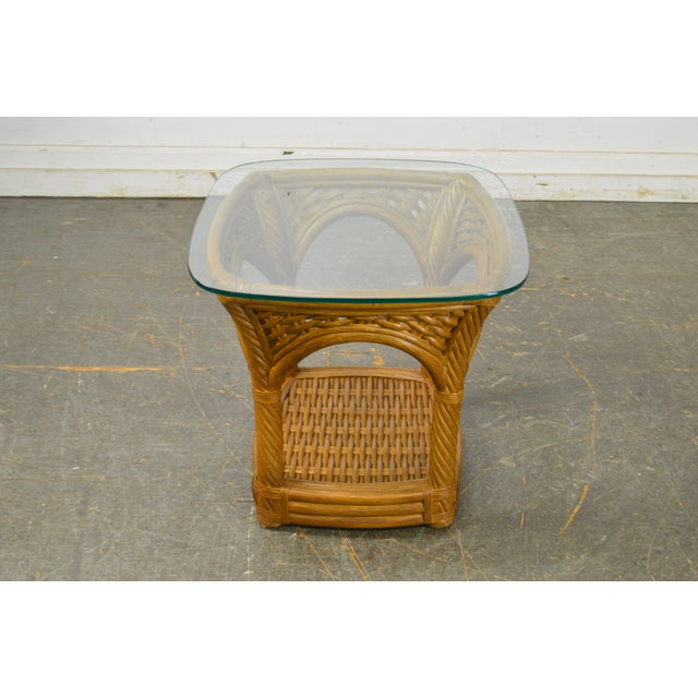 2000 - 2009 Crate & Barrel Glass Top Rattan Side Table For Sale - Image 5 of 13
