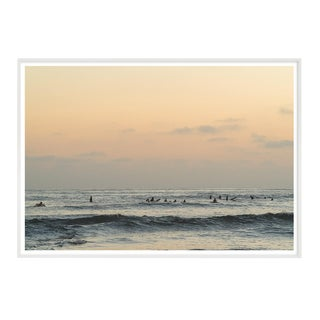 Ocean With Surfers in Muted Color Photograph Framed For Sale