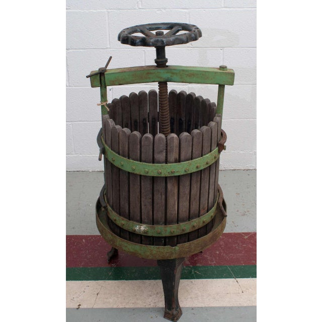 """A wine press in working order from Eger, Hungary, home of the famous """"Bull's Blood"""" red wine. Built on a heavy cast iron..."""