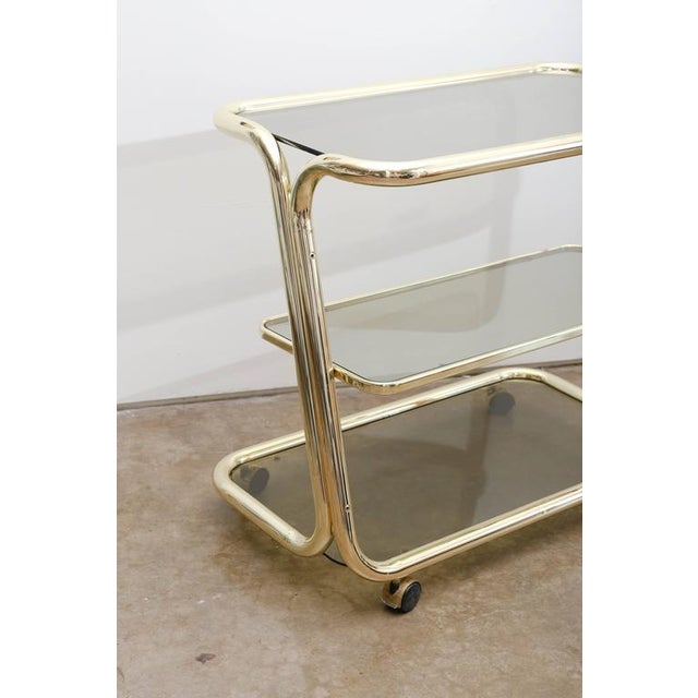 Morex Italian Modern Glam Brass and Smoked Glass Bar Cart, Trolley or Server - Image 9 of 9