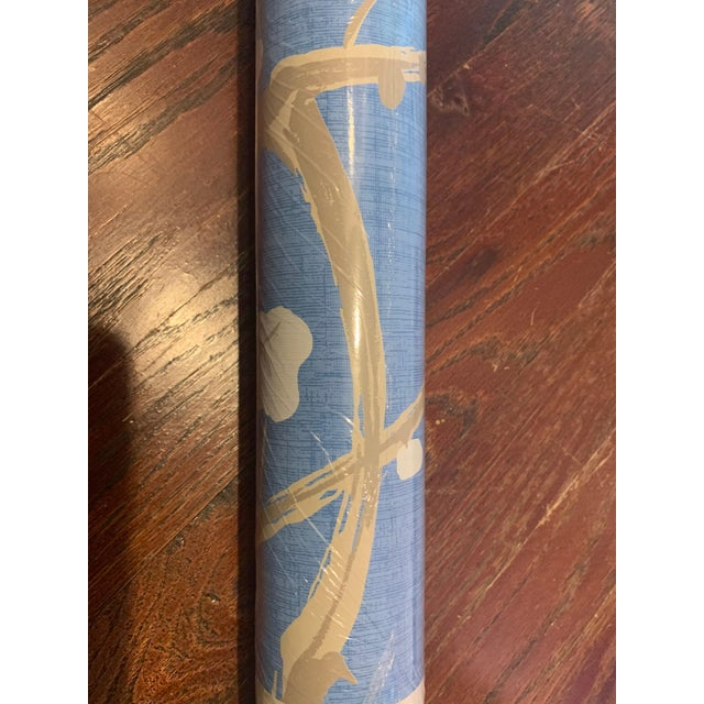 Chinoiserie Clarence House Flowering Quince Wallpaper in Sky For Sale - Image 3 of 4