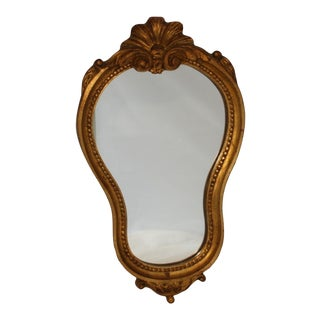 Vintage Belgian Asymmetrical Gold Gilt Gesso Wall Mirror For Sale