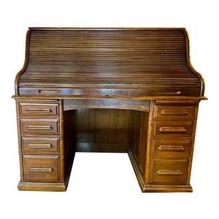 Vintage Early American Oak Rolltop Desk For Sale