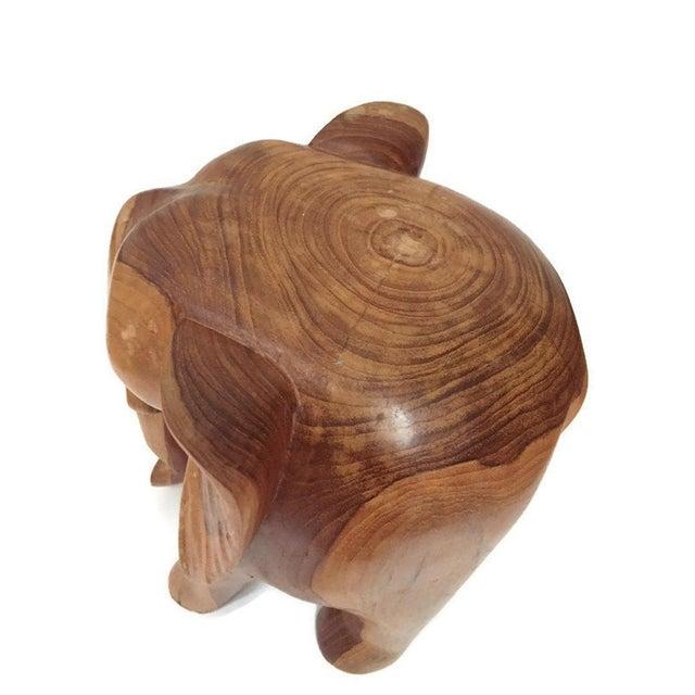Vintage Carved Wood Elephant Pedestal Statue 11 Inch For Sale - Image 4 of 12