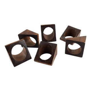 Geometric Wood Napkin Rings - Set of 6 For Sale
