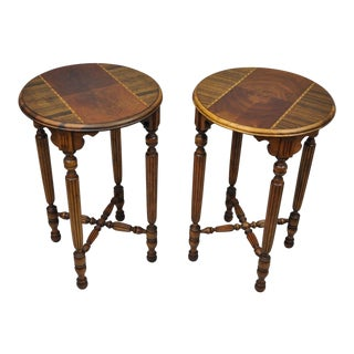 Antique Jacobean Depression Inlaid Walnut Round Side / End Tables - a Pair For Sale