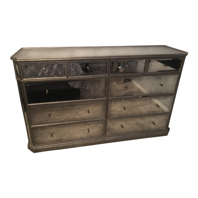 Restoration Hardware 1930s French Mirrored 10-Drawer Low Chest - Image 1 of 5