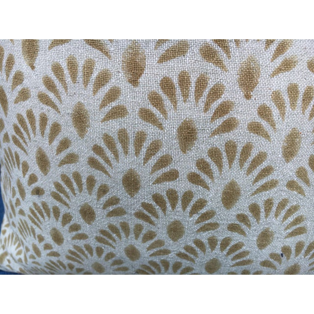 Indian Hand Blocked Indian Linen Pillows For Sale - Image 3 of 5