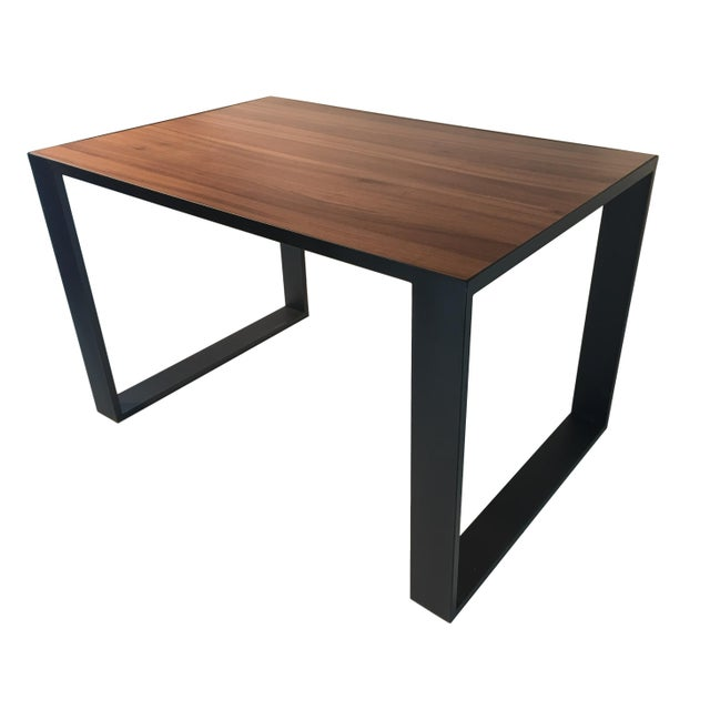 About Rectangular iron cube table with embedded wood top, dinner table, desk table Frame material: Extruded and hand-...