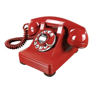 1940s Vintage Red Western Electric 302 Telephone For Sale