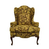 Image of Ethan Allen Floral Upholstered Wingback Accent Arm Chair For Sale