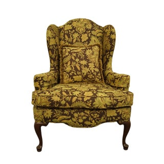 Ethan Allen Floral Upholstered Wingback Accent Arm Chair For Sale