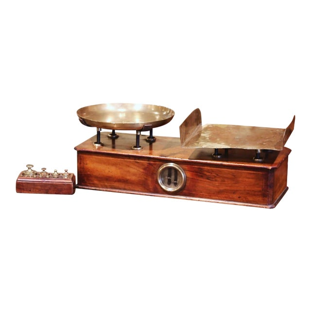 19th Century French Napoleon III Walnut and Brass Scale With Set of Weights For Sale