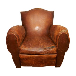 Antique Leather Mustache Club Chair