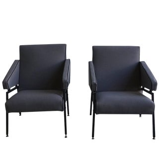 20th Century Italian Cubist Grey Upholstered Armchairs - a Pair For Sale