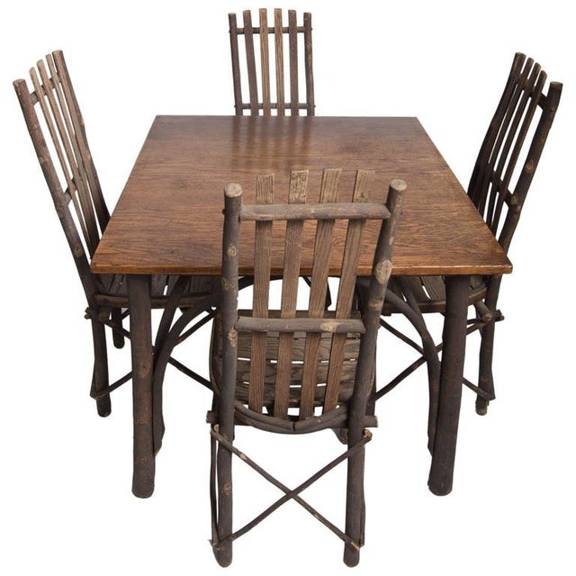 Adirondack Antique Adirondack Old Hickory Table and Chairs For Sale - Image 3 of 3
