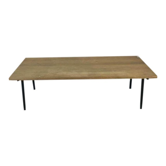 Contemporary Rustic Style Carved Oak & Metal Dining Table - Image 1 of 7