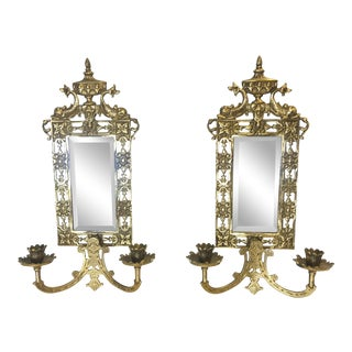 20th Century Hollywood Regency Brass Mirrored Wall Sconces - a Pair For Sale