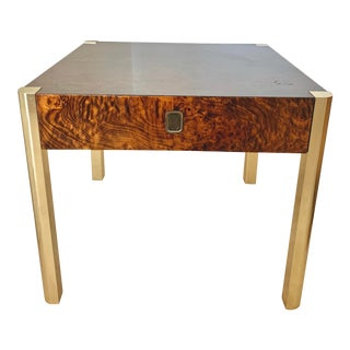 Vintage 1970s Milo Baughman Burl Wood and Brass End Table For Sale