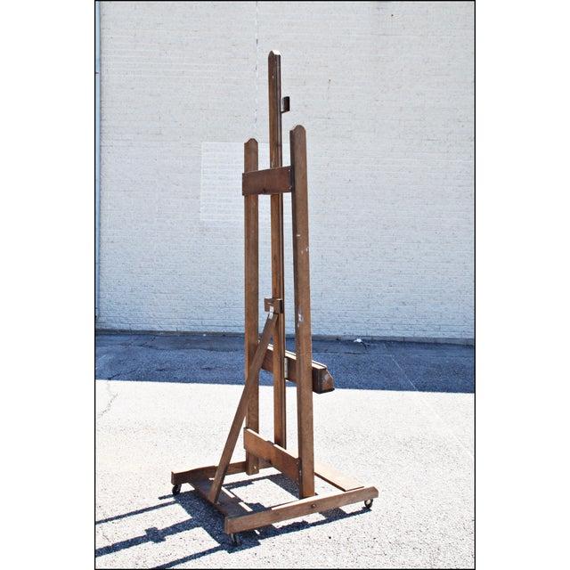 Vintage Primitive H Frame Rolling Artist Easel | Chairish