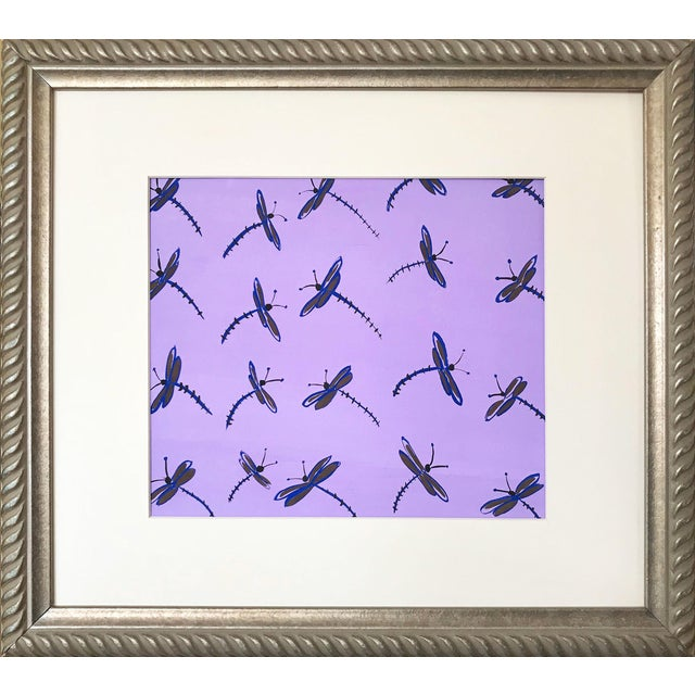 Vintage Mid Century Modern Abstract Dragonfly Painting For Sale