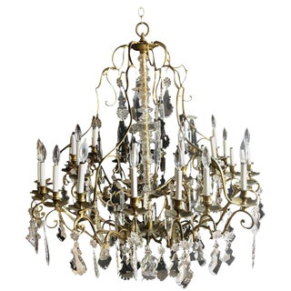 Bronze and Crystal Palatial Thirty-Light Chandelier