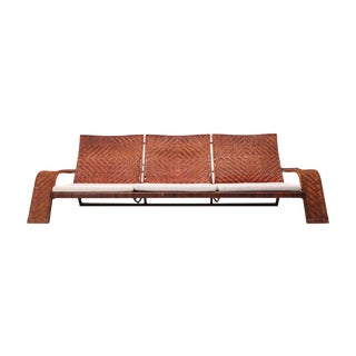 Marzio Cecchi Woven Leather Postmodern Sofa For Sale