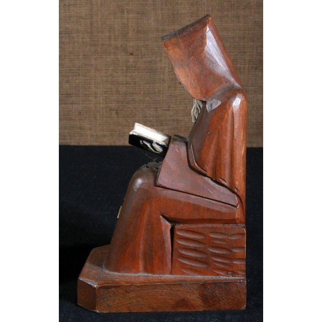 Vintage Hand Carved Mexican Monk Figures - Pair For Sale In Providence - Image 6 of 7