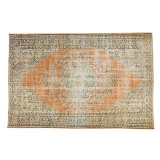 "Vintage Distressed Oushak Carpet - 5'7"" X 8'6"" For Sale"