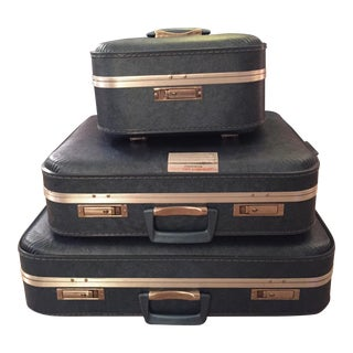 Vintage Blue Luggage - Set of 3