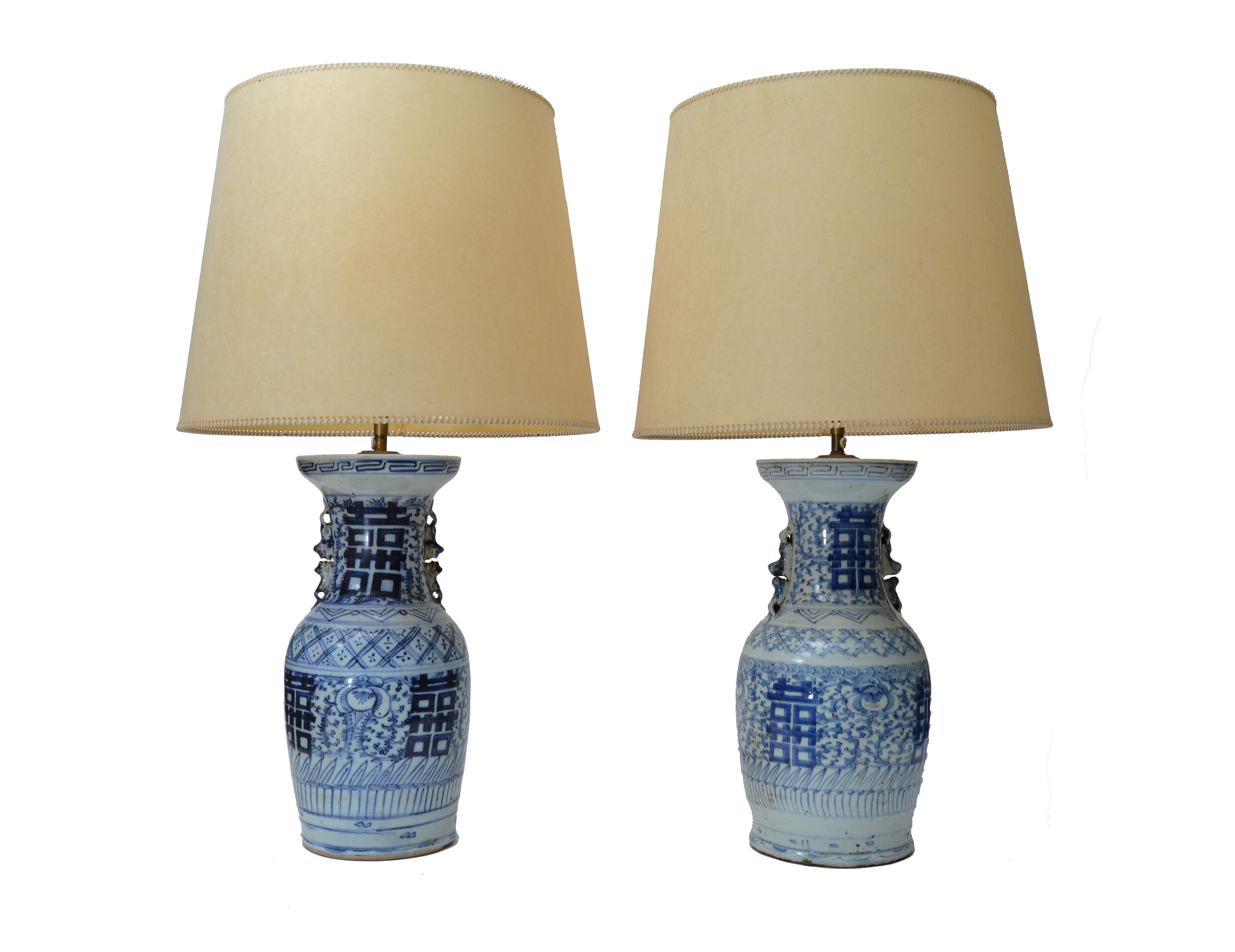 Gentil Chinese Blue Grey Pottery Table Lamps With Original Shades, Pair   Image 6  Of 6