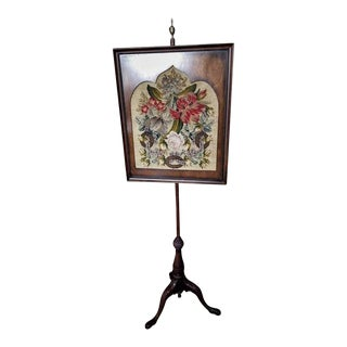 Walnut and Needlepoint Fireplace Screen with a Brass Finial, 19th Century For Sale