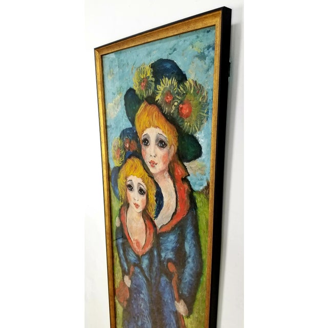1960s Mid Century Original Oil Painting on Canvas For Sale - Image 4 of 12