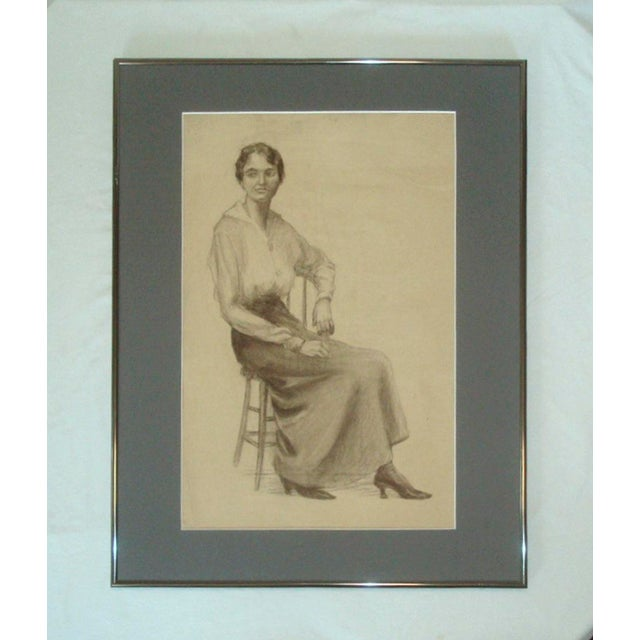 Charcoal 1920s Flapper Era Charcoal Portrait Drawing of a Woman For Sale - Image 7 of 7