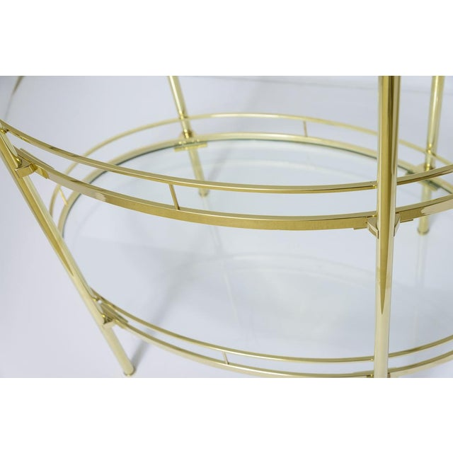 Brass Three Tier Bar/Etagere Midcentury Signed Maxwell-Phillips Oval For Sale - Image 11 of 12