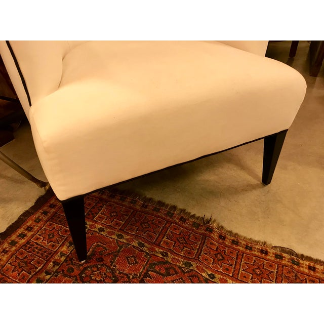 2010s Custom-Made Classic Modern Lined Armchair For Sale - Image 5 of 8