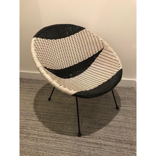 Vintage Mid-Century Atomic B/W Vinyl Basket Chair For Sale - Image 13 of 13