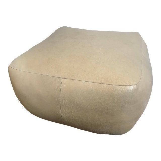 Gold Metallic Leather Pouf by Dosa For Sale