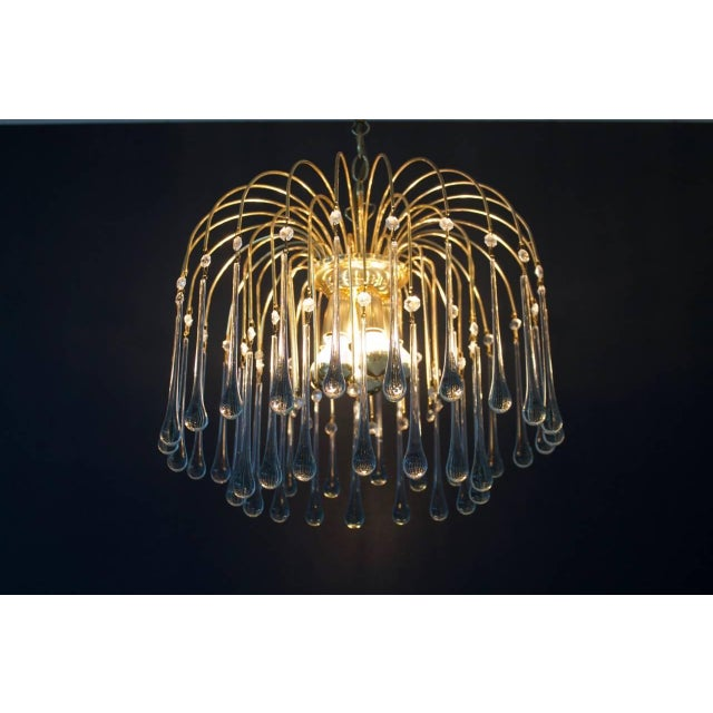 Christoph Palme Waterfall Chandelier Brass and Glass, Germany, 1970s For Sale - Image 6 of 10