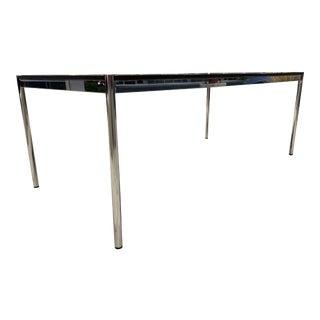 Minimalist Usm Haller Polished Steel Granite Topped Dining Conference Table For Sale