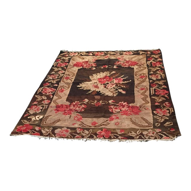 Antique Floral Kilim Rug - 4′8″ × 5′11″ - Image 1 of 4