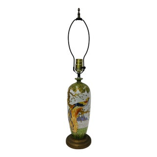Early 1900s Hand Painted Table Lamp With Bird of Paradise Design For Sale