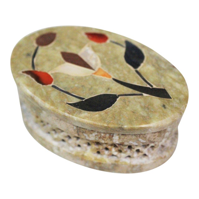 1960s Vintage Soapstone Indian Box For Sale