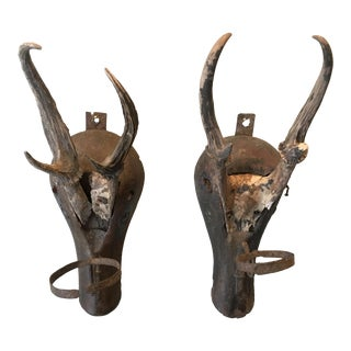 Antler and Metal Wall Sconces - a Pair For Sale