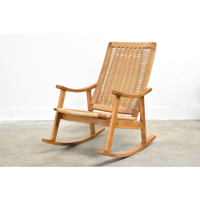 Mid-Century Hans Wegner Style Rope Rocking Chair For Sale - Image 13 of 13