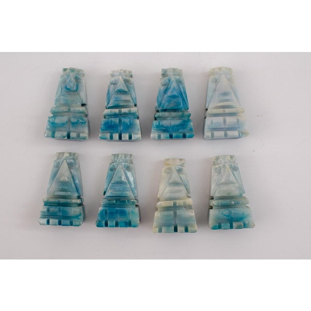 Vintage Aztec Blue and White Onyx Marble Chess Set For Sale In Washington DC - Image 6 of 12