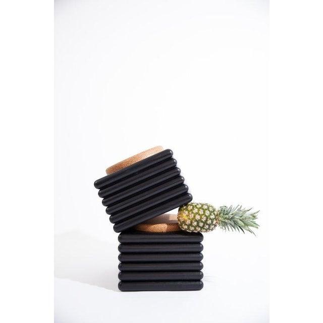 Contemporary Ebonized Ridge Stool With Cork For Sale - Image 3 of 6