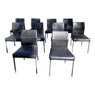 Black Leather Design Within Reach Dining Chairs - Set of 10 For Sale