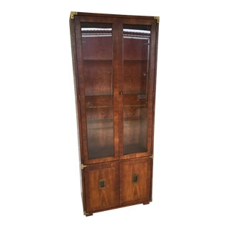 "Henredon Lighted 77"" Campaign Style Wall Cabinet"