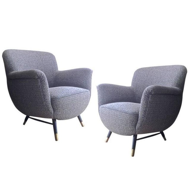 Mid-Century Modern Danish Superb Design Pair of Chairs Newly Covered in Charcoal Chine Cloth For Sale - Image 3 of 3